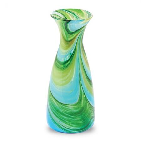 Ваза для цветов бирюзовая с зеленым