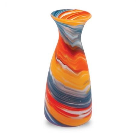 Ваза для цветов оранжевая с голубым и желтым матовая