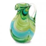 Кувшин стеклянный бирюзовый с зеленым