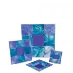 Тарелка синяя с голубым квадратная