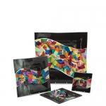 Тарелка черная квадратная с разноцветными вставками